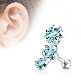 Piercing cartilage triple étoiles turquoise