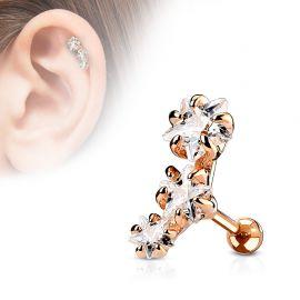 Piercing cartilage triple étoiles plaqué or rose