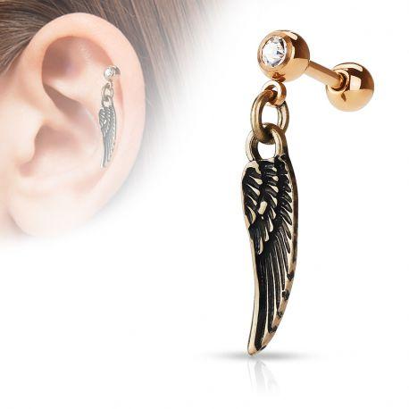 Piercing cartilage pendentif aile d'ange or rose