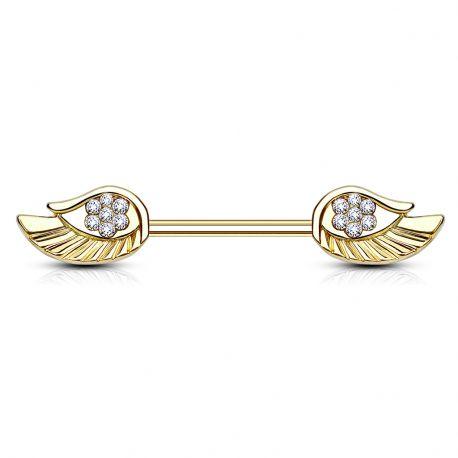 Piercing téton doré avec ailes d'ange strass