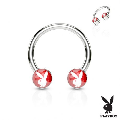 Piercing fer à cheval Playboy rouge