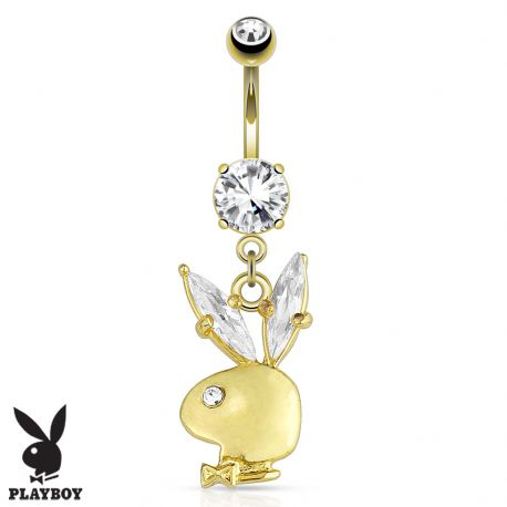 Piercing nombril Playboy plaqué or
