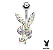 Piercing nombril Playboy cristaux aurore boréale