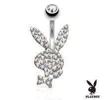 Piercing nombril Playboy cristaux blancs