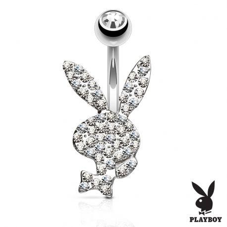 Piercing nombril Playboy cristaux blancs