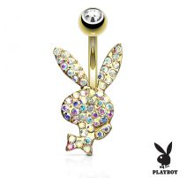 Piercing nombril Playboy plaqué or cristaux aurore boréale