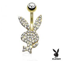 Piercing nombril Playboy plaqué or cristaux blancs