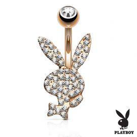 Piercing nombril Playboy plaqué or rose cristaux blancs