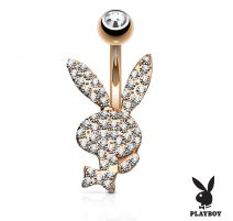 Piercing nombril Playboy plaqué or rose cristaux blancs
