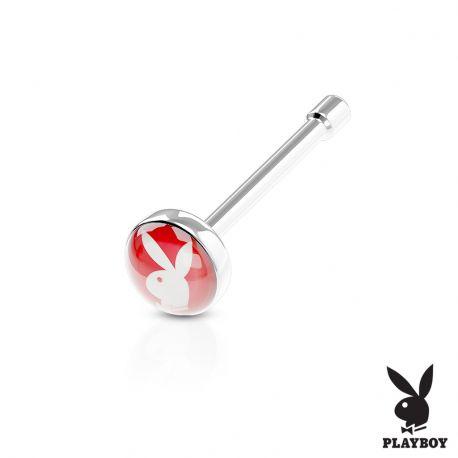 Piercing nez Playboy tige droite rouge