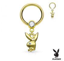 Piercing anneau captif pendentif Playboy doré