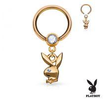 Piercing anneau captif pendentif Playboy or rose