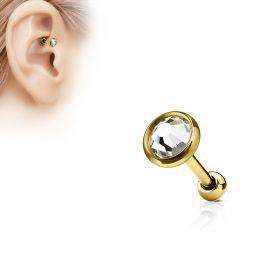 Piercing cartilage doré disque plat strass