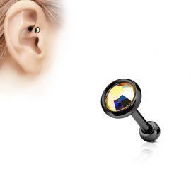 Piercing cartilage noir disque plat strass aurore boréale