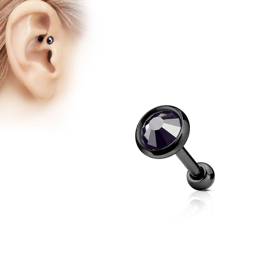Piercing cartilage hélix gemme noir