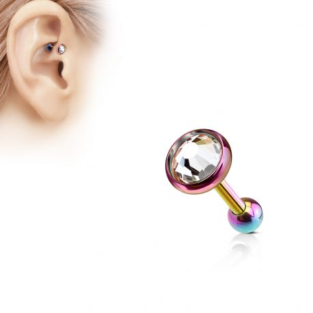 Piercing cartilage multicolore disque plat strass