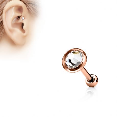 Piercing cartilage or rose disque plat strass