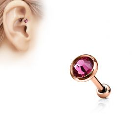 Piercing cartilage or rose disque plat strass rose