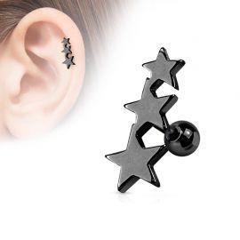 Piercing Oreille Helix Tragus Etoiles Noir
