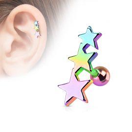 Piercing Oreille Helix Tragus Etoiles Multicolore