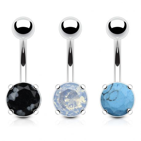 Lot de 3 Piercing Nombril Pierre Semi Précieuse Argenon, Turquoise, Obsidienne