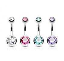 Lot de 4 Piercing Nombril Acier Chirurgical Double Gemmes
