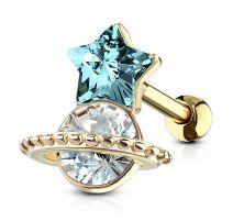 Piercing hélix étoile turquoise et saturne plaqué or