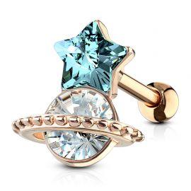 Piercing hélix étoile turquoise et saturne plaqué or rose