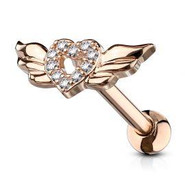Piercing cartilage coeur avec ailles d'ange plaqué or rose