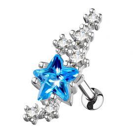 Piercing cartilage étoile turquoise et cluster