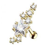 Piercing cartilage étoile et cluster plaqué or