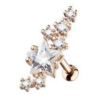 Piercing cartilage étoile et cluster plaqué or rose
