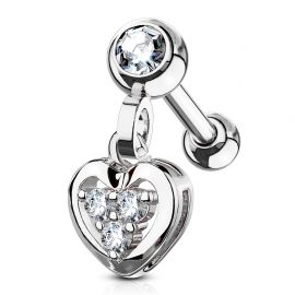 Piercing cartilage pendentif coeur gemmes