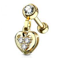 Piercing cartilage pendentif coeur gemmes plaqué or