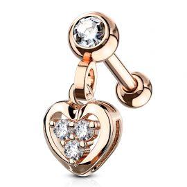 Piercing cartilage pendentif coeur gemmes plaqué or rose