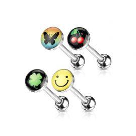 Lot de 4 Piercing langue Logos Smiley