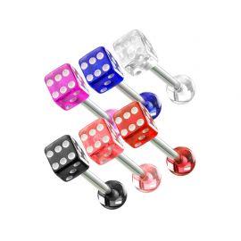 Lot de 6 Piercing langue Dés en acrylique