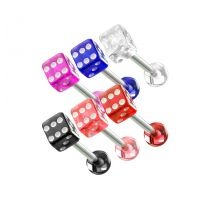 Lot de 6 Piercing langue Dés en acrylique