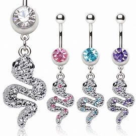 Piercing nombril serpent strass
