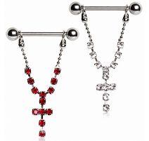 Piercing téton pendentif croix gemmes