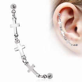 Double piercing cartilage oreille étoile triple croix