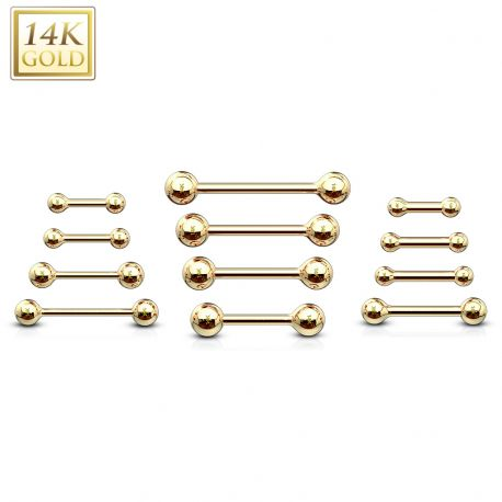 Piercing Barbell en Or 14 carats véritable