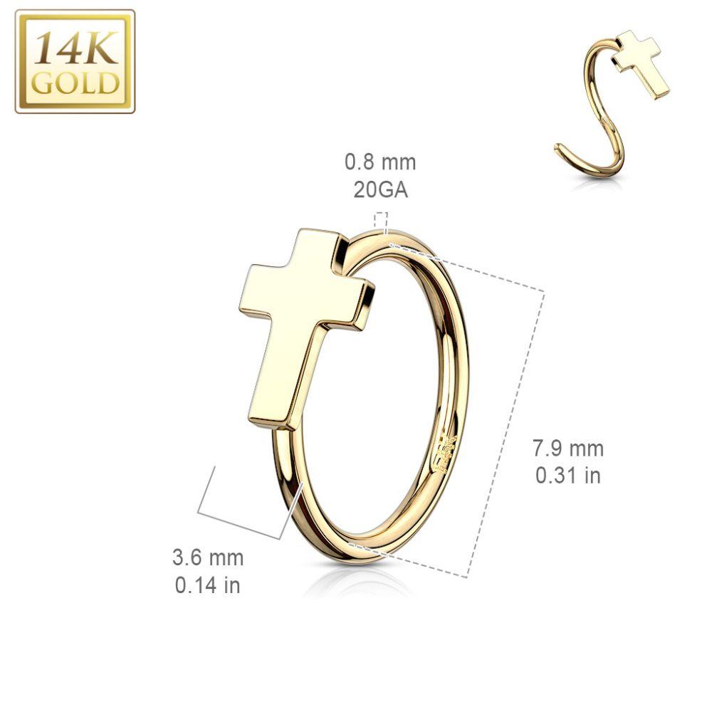 piercing pour le nez type anneau en or jaune 14 carats croix. Black Bedroom Furniture Sets. Home Design Ideas