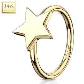 Piercing nez Anneau Or jaune 14 Carats étoile