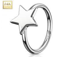 Piercing nez Anneau Or blanc 14 Carats étoile