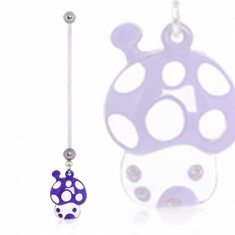 Piercing nombril de grossesse champignon violet
