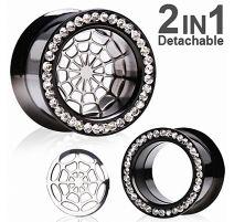 Piercing tunnel oreille titanium noir 2 en 1