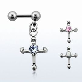 Piercing hélix acier pendentif croix