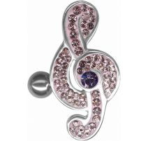 Piercing nombril inversé Crystal Evolution Swarovski Clef de sol