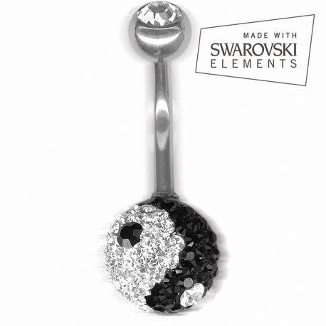 Piercing nombril Crystal Evolution Swarovski Yin et Yang